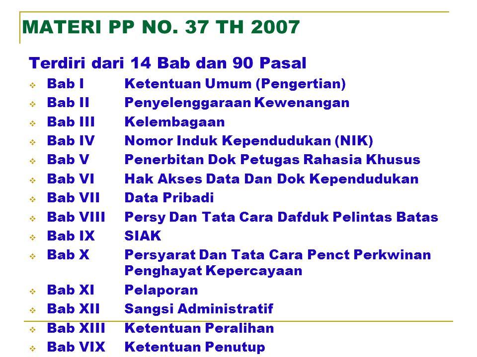 MATERI PP NO. 37 TH 2007 Terdiri dari 14 Bab dan 90 Pasal