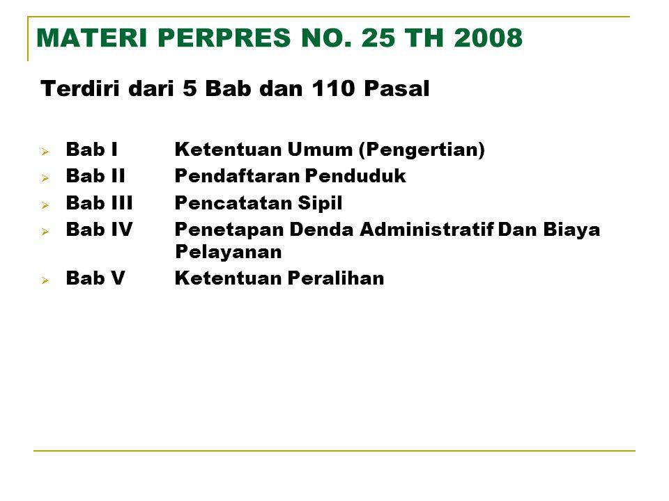 MATERI PERPRES NO. 25 TH 2008 Terdiri dari 5 Bab dan 110 Pasal