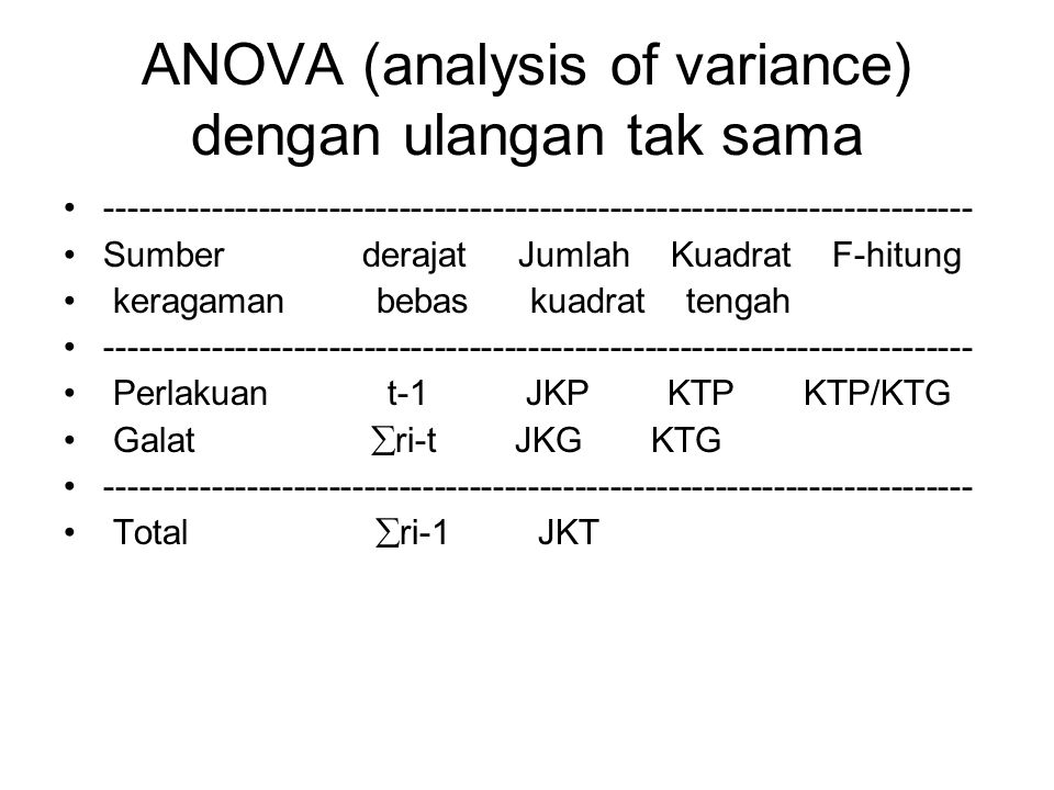 ANOVA (analysis of variance) dengan ulangan tak sama