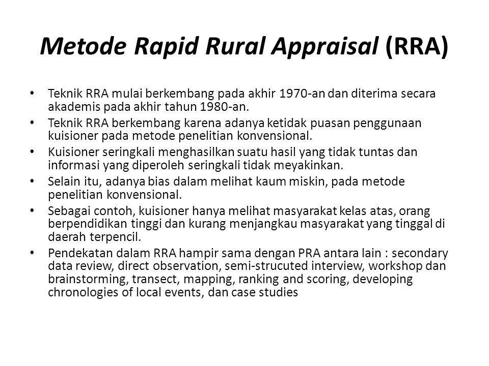 Metode Rapid Rural Appraisal (RRA)