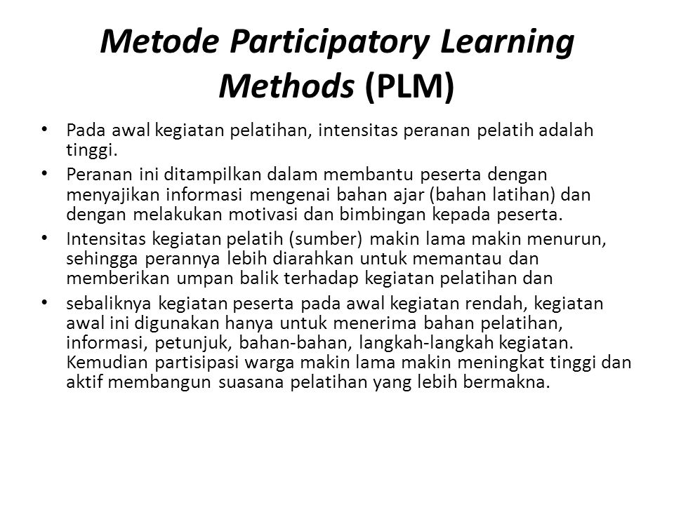 Metode Participatory Learning Methods (PLM)