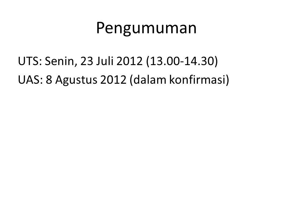 Pengumuman UTS: Senin, 23 Juli 2012 (13.00-14.30) UAS: 8 Agustus 2012 (dalam konfirmasi)