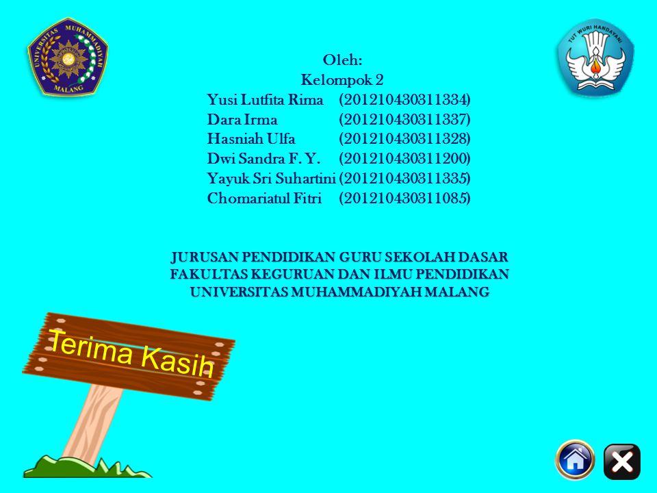 Terima Kasih Oleh: Kelompok 2 Yusi Lutfita Rima (201210430311334)
