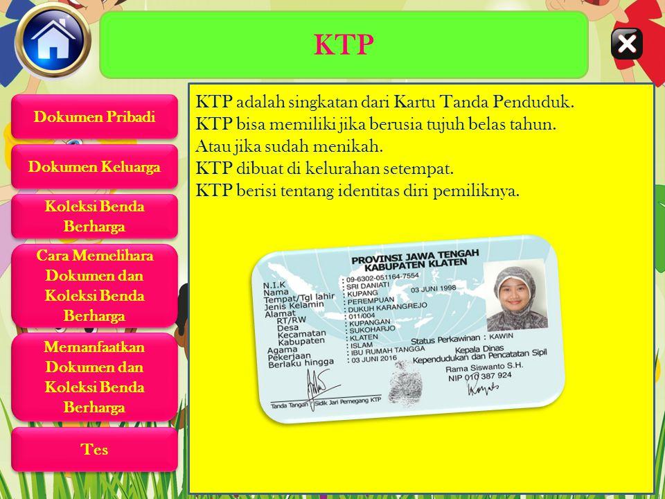 KTP KTP adalah singkatan dari Kartu Tanda Penduduk.
