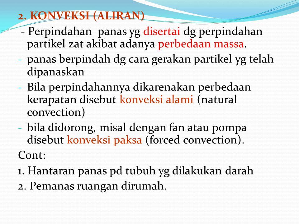 2. KONVEKSI (ALIRAN) - Perpindahan panas yg disertai dg perpindahan partikel zat akibat adanya perbedaan massa.