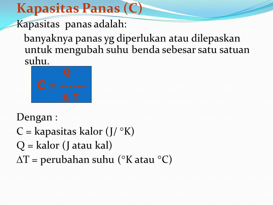 Kapasitas Panas (C) C = ------ Kapasitas panas adalah: