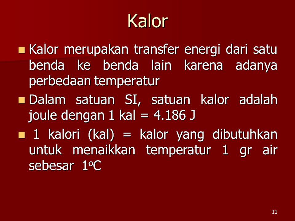 Kalor Kalor merupakan transfer energi dari satu benda ke benda lain karena adanya perbedaan temperatur.
