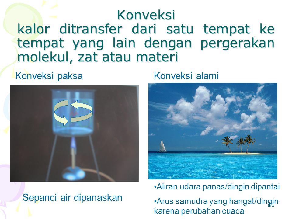 Konveksi kalor ditransfer dari satu tempat ke tempat yang lain dengan pergerakan molekul, zat atau materi