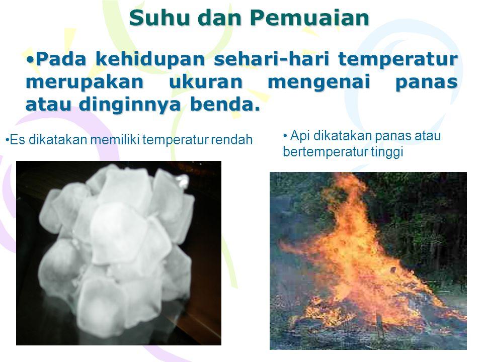 Suhu dan Pemuaian Pada kehidupan sehari-hari temperatur merupakan ukuran mengenai panas atau dinginnya benda.
