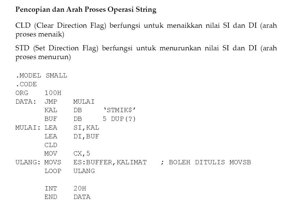 Pencopian dan Arah Proses Operasi String