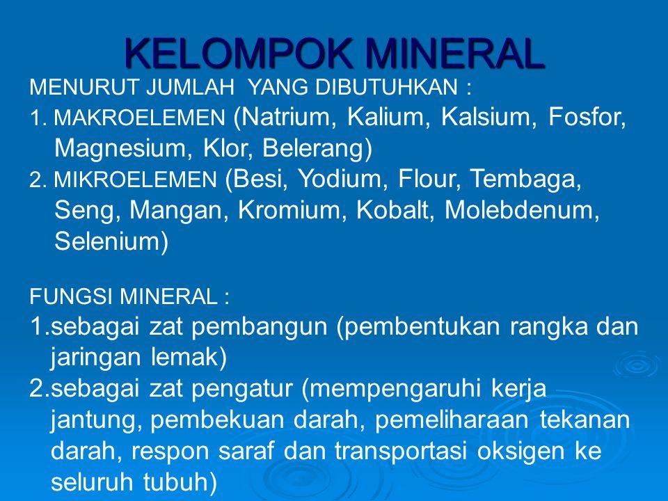 KELOMPOK MINERAL 1.sebagai zat pembangun (pembentukan rangka dan