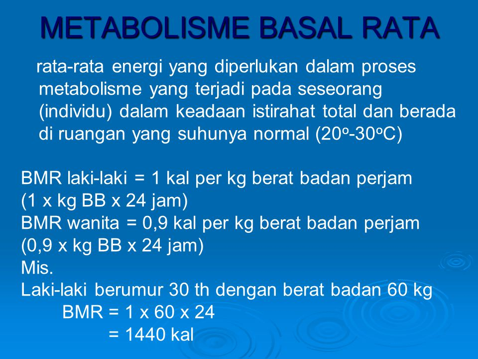 METABOLISME BASAL RATA