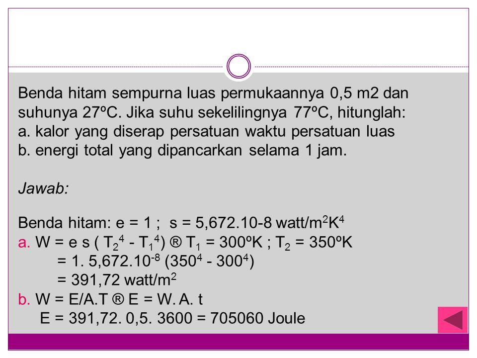 Benda hitam sempurna luas permukaannya 0,5 m2 dan suhunya 27ºC