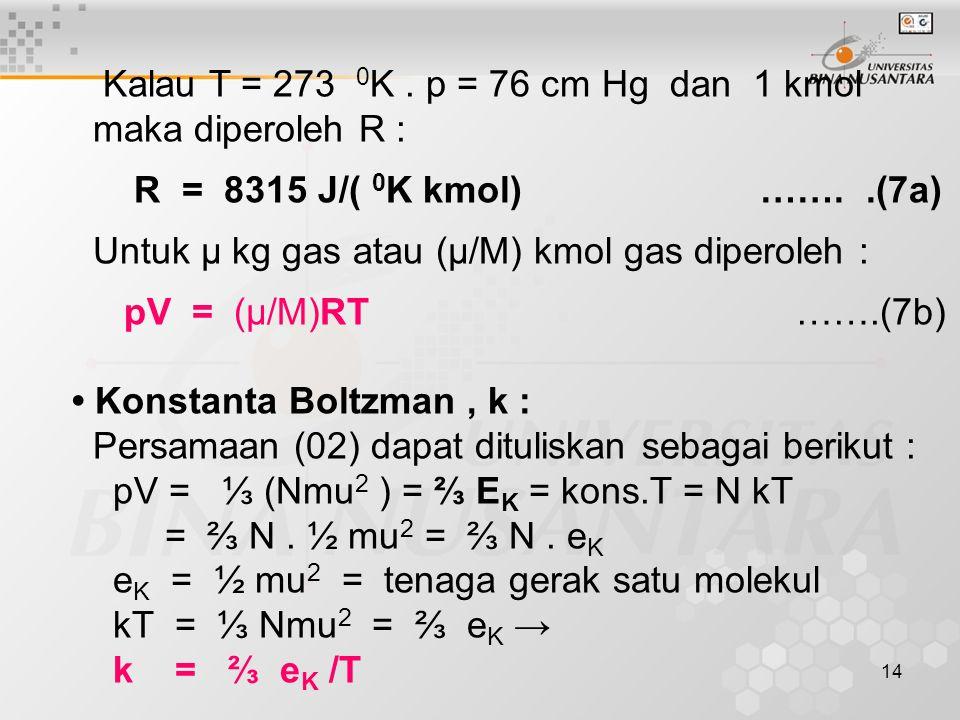 Untuk μ kg gas atau (μ/M) kmol gas diperoleh : pV = (μ/M)RT …….(7b)