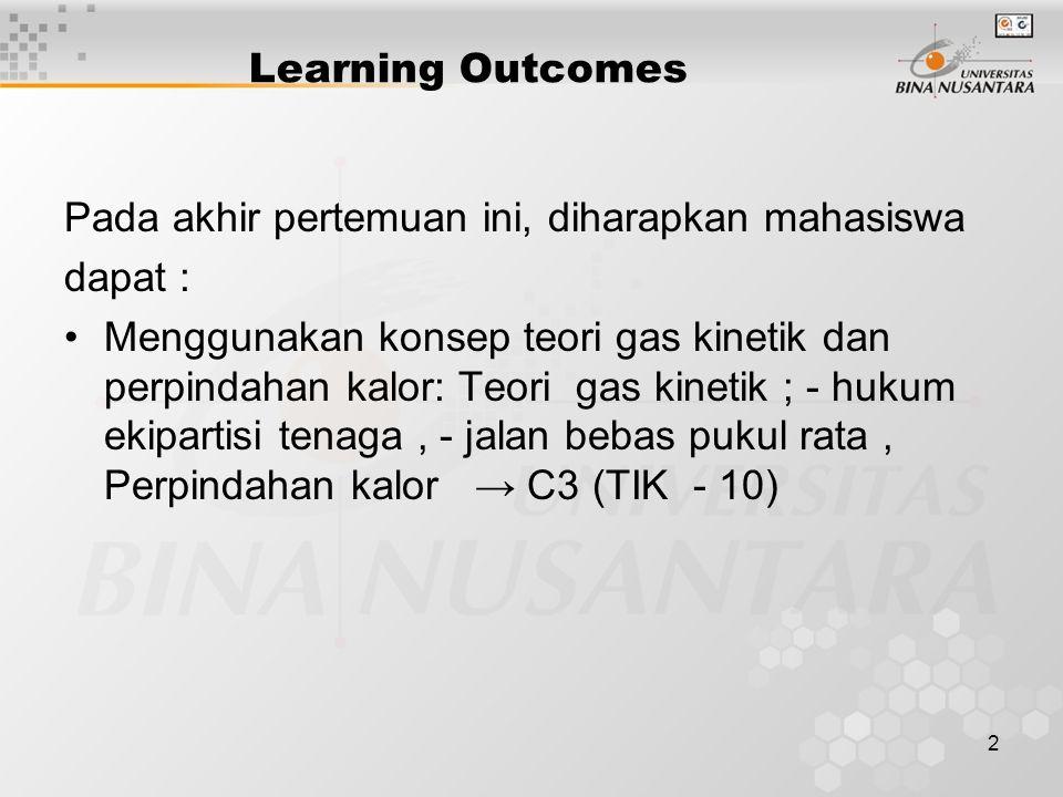 Learning Outcomes Pada akhir pertemuan ini, diharapkan mahasiswa. dapat :