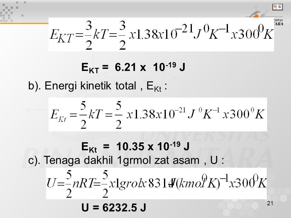EKT = 6.21 x 10-19 J b). Energi kinetik total , EKt : EKt = 10.35 x 10-19 J. c). Tenaga dakhil 1grmol zat asam , U :