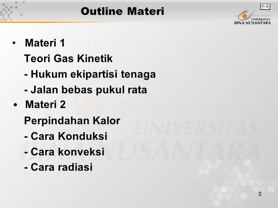 Outline Materi • Materi 1. Teori Gas Kinetik. - Hukum ekipartisi tenaga. - Jalan bebas pukul rata.