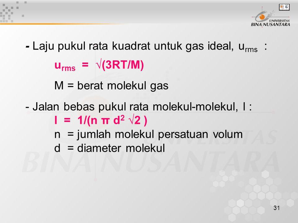 - Laju pukul rata kuadrat untuk gas ideal, urms :