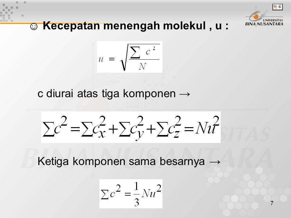 ☺ Kecepatan menengah molekul , u :