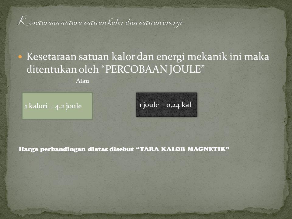 Kesetaraan antara satuan kalor dan satuan energi.