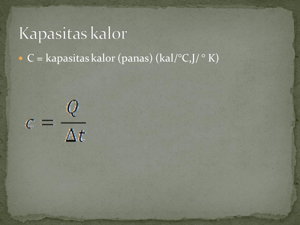 Kapasitas kalor C = kapasitas kalor (panas) (kal/°C,J/ ° K)