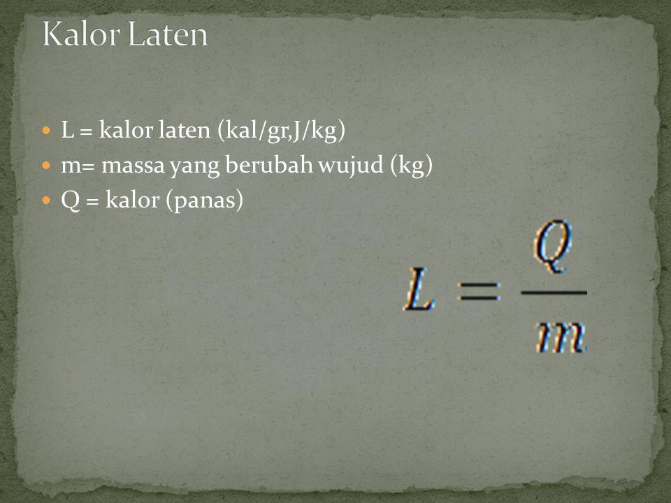 Kalor Laten L = kalor laten (kal/gr,J/kg)