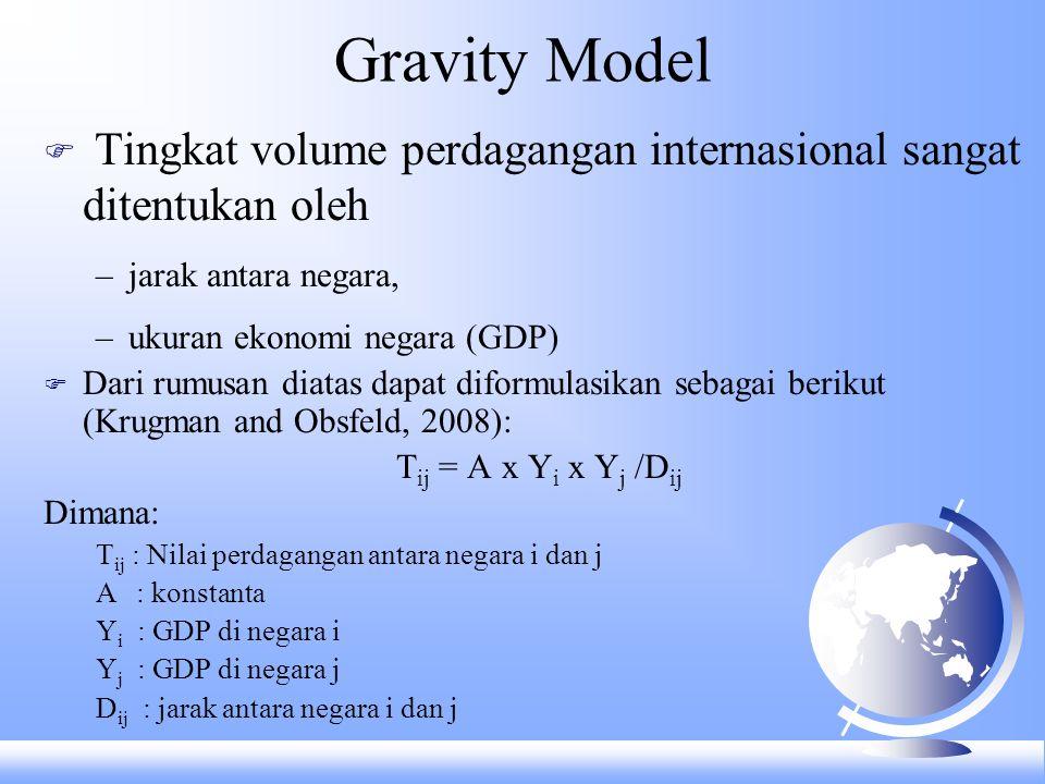 Gravity Model Tingkat volume perdagangan internasional sangat ditentukan oleh. jarak antara negara,