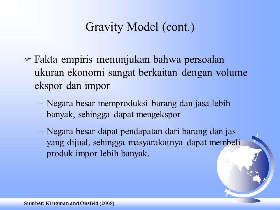 Gravity Model (cont.) Fakta empiris menunjukan bahwa persoalan ukuran ekonomi sangat berkaitan dengan volume ekspor dan impor.