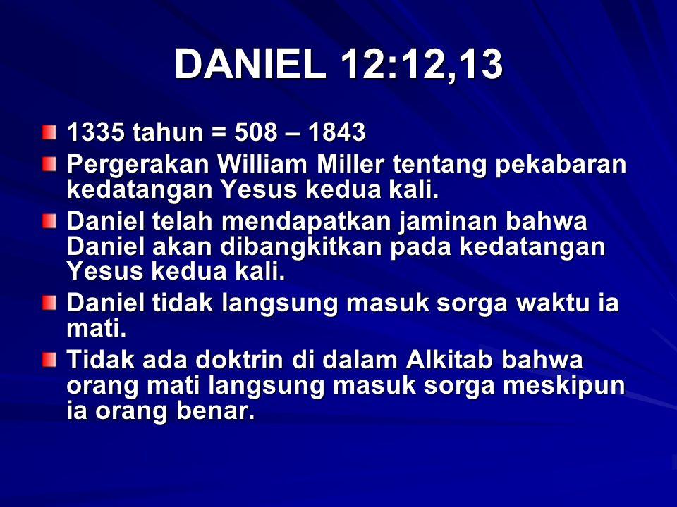 DANIEL 12:12,13 1335 tahun = 508 – 1843. Pergerakan William Miller tentang pekabaran kedatangan Yesus kedua kali.