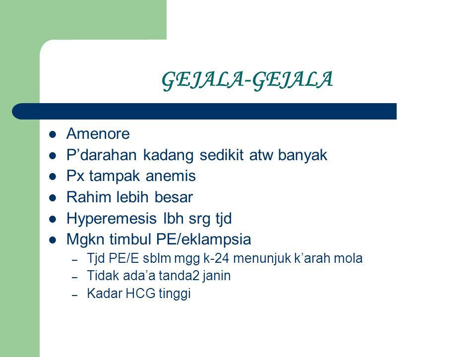 GEJALA-GEJALA Amenore P'darahan kadang sedikit atw banyak