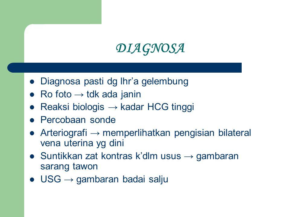 DIAGNOSA Diagnosa pasti dg lhr'a gelembung Ro foto → tdk ada janin