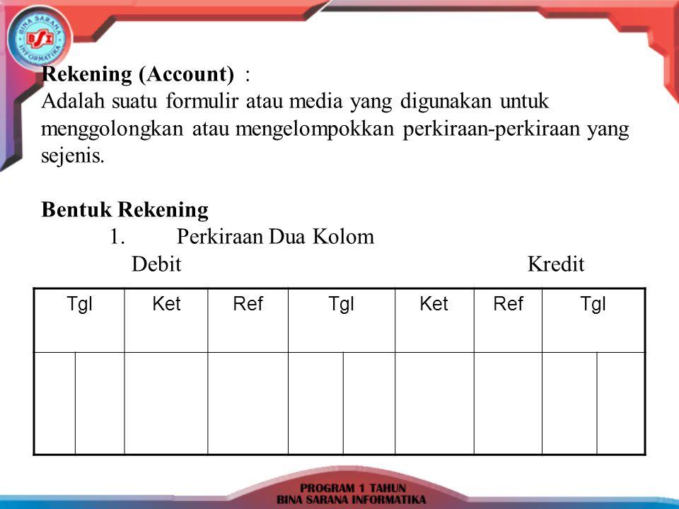Rekening (Account) : Adalah suatu formulir atau media yang digunakan untuk menggolongkan atau mengelompokkan perkiraan-perkiraan yang sejenis. Bentuk Rekening 1. Perkiraan Dua Kolom Debit Kredit