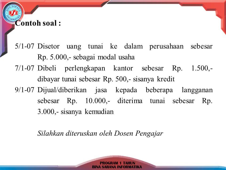 Contoh soal : 5/1-07 Disetor uang tunai ke dalam perusahaan sebesar Rp. 5.000,- sebagai modal usaha.
