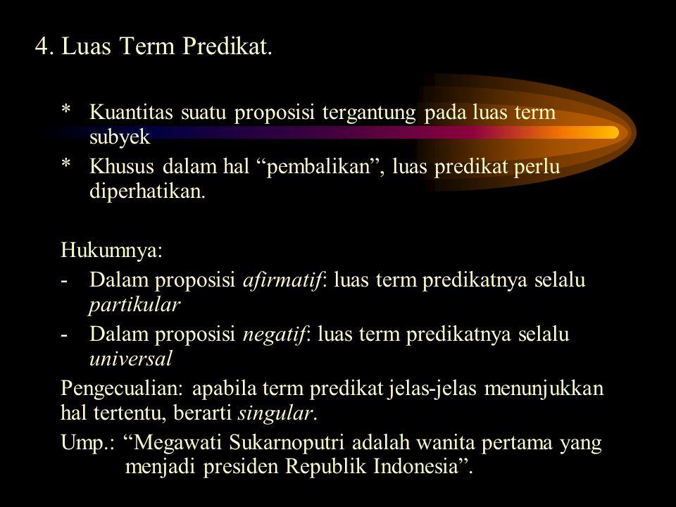 4. Luas Term Predikat. * Kuantitas suatu proposisi tergantung pada luas term subyek.