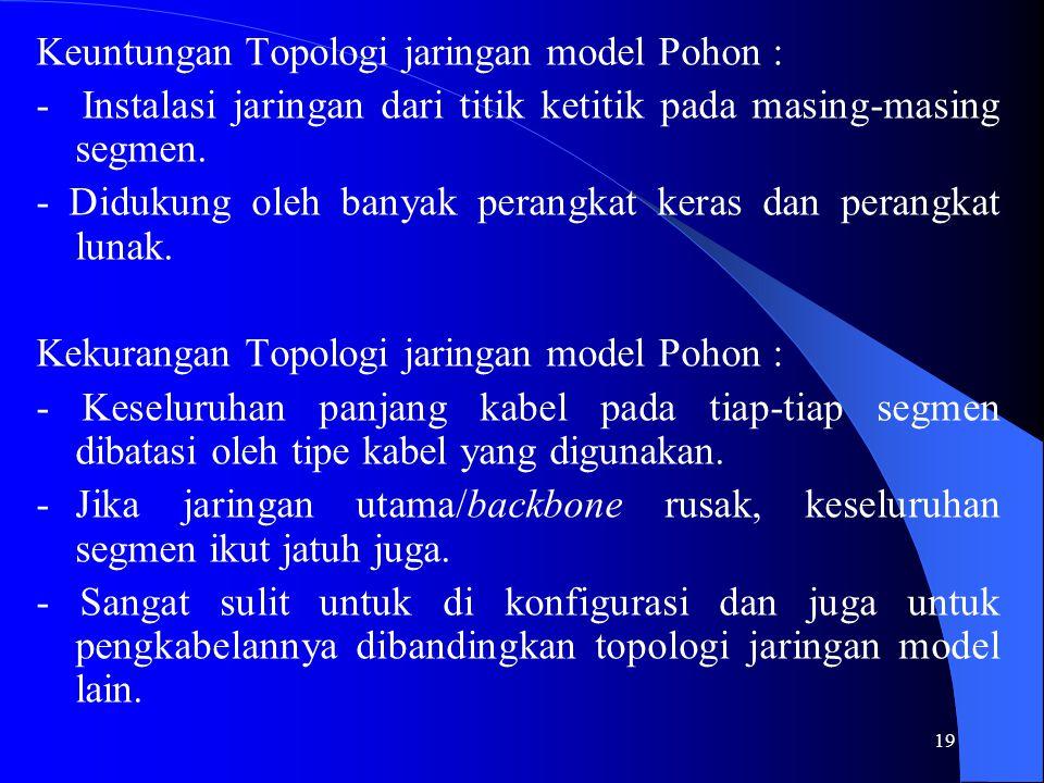 Keuntungan Topologi jaringan model Pohon :