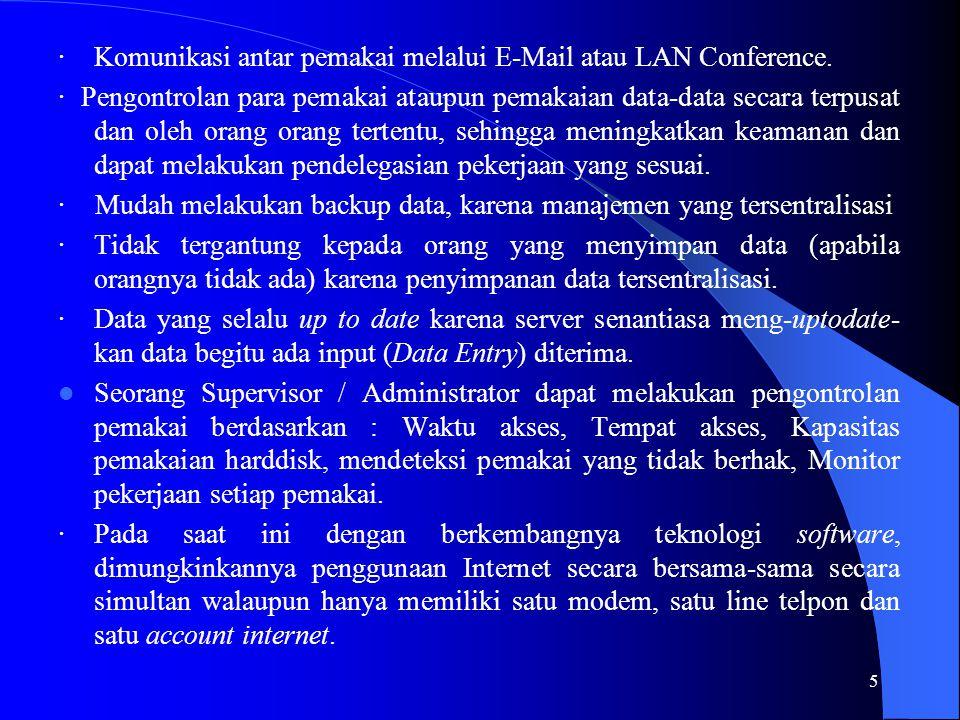 · Komunikasi antar pemakai melalui E-Mail atau LAN Conference.