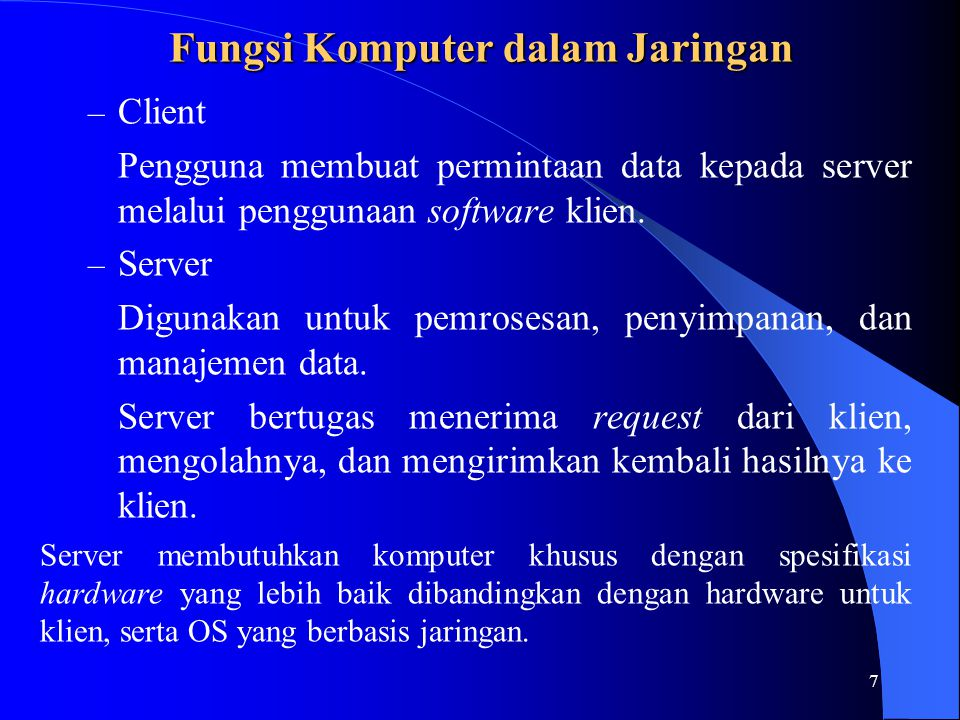 Fungsi Komputer dalam Jaringan