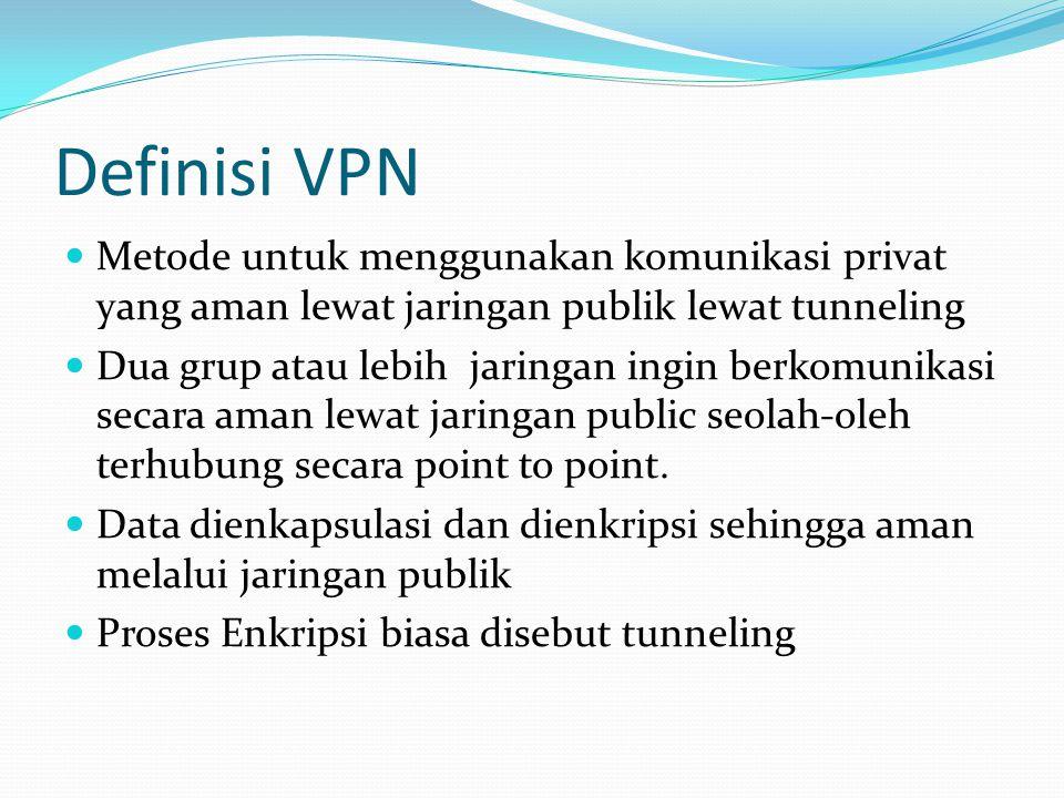 Definisi VPN Metode untuk menggunakan komunikasi privat yang aman lewat jaringan publik lewat tunneling.