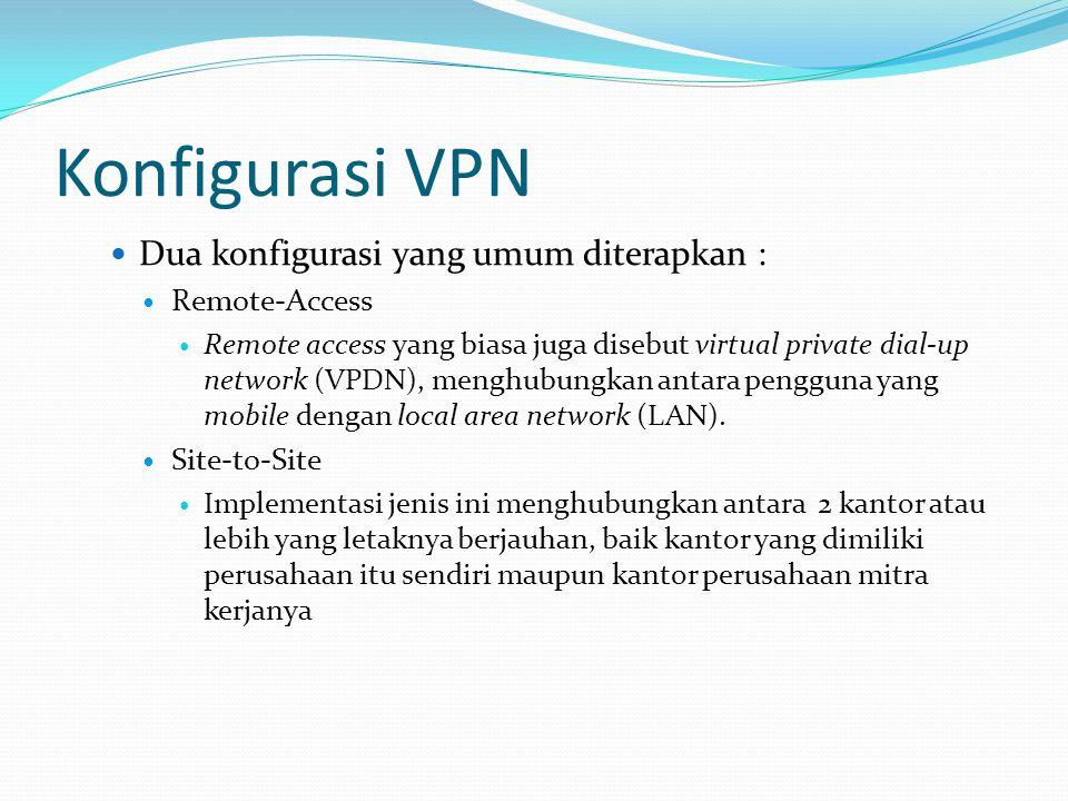 Konfigurasi VPN Dua konfigurasi yang umum diterapkan : Remote-Access