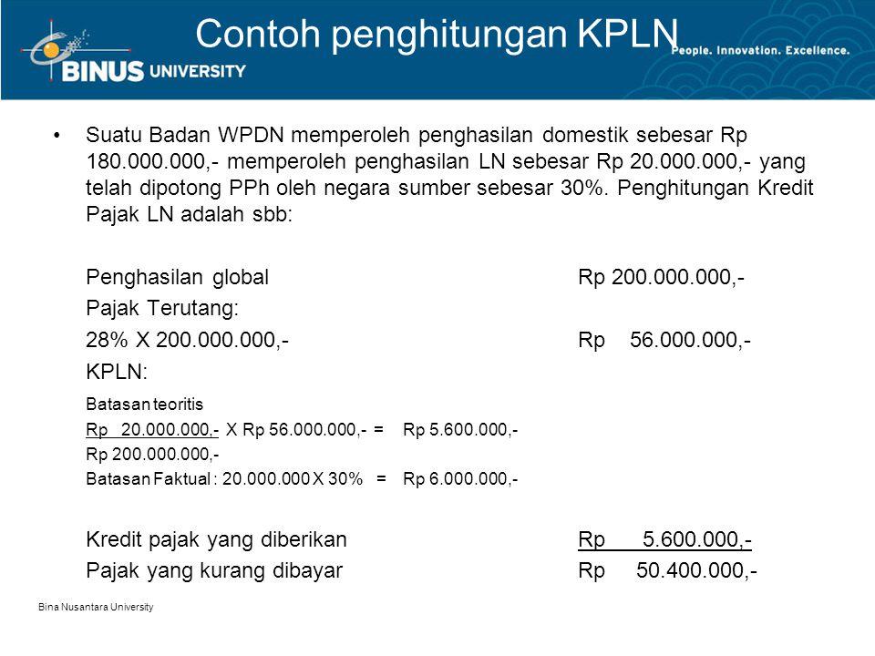 Contoh penghitungan KPLN