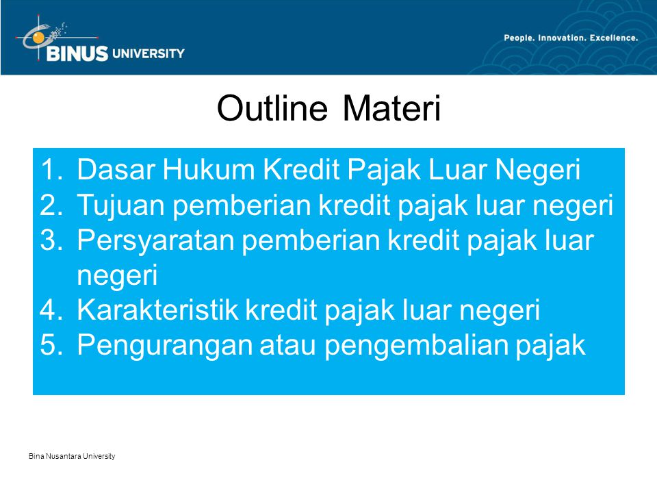 Outline Materi Dasar Hukum Kredit Pajak Luar Negeri