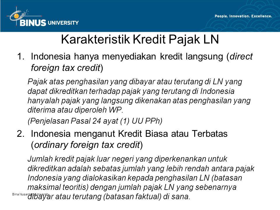 Karakteristik Kredit Pajak LN