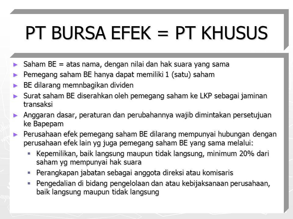 PT BURSA EFEK = PT KHUSUS