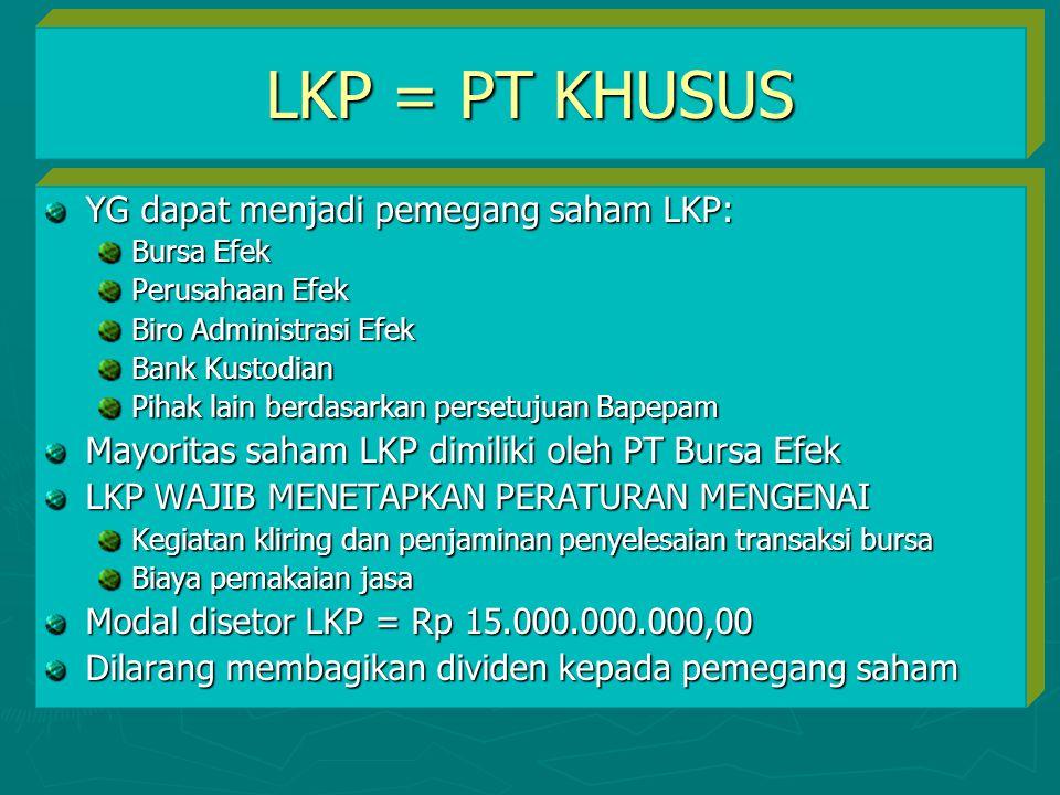 LKP = PT KHUSUS YG dapat menjadi pemegang saham LKP: