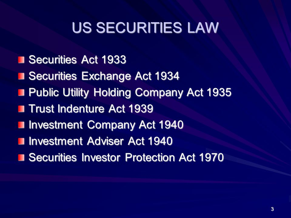 US SECURITIES LAW Securities Act 1933 Securities Exchange Act 1934