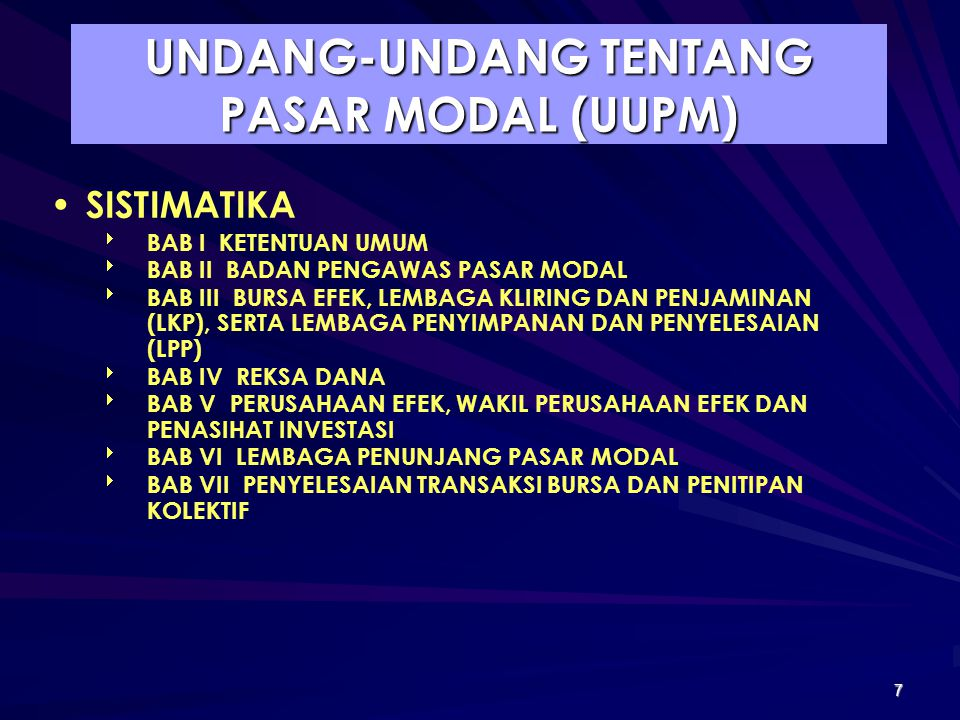 UNDANG-UNDANG TENTANG PASAR MODAL (UUPM)