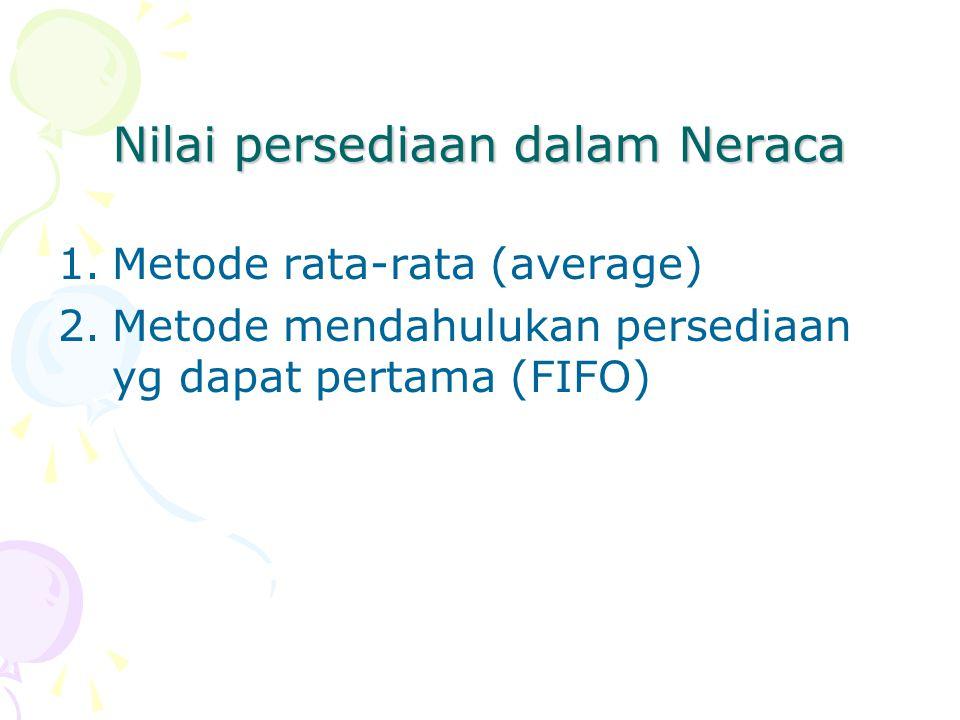 Nilai persediaan dalam Neraca