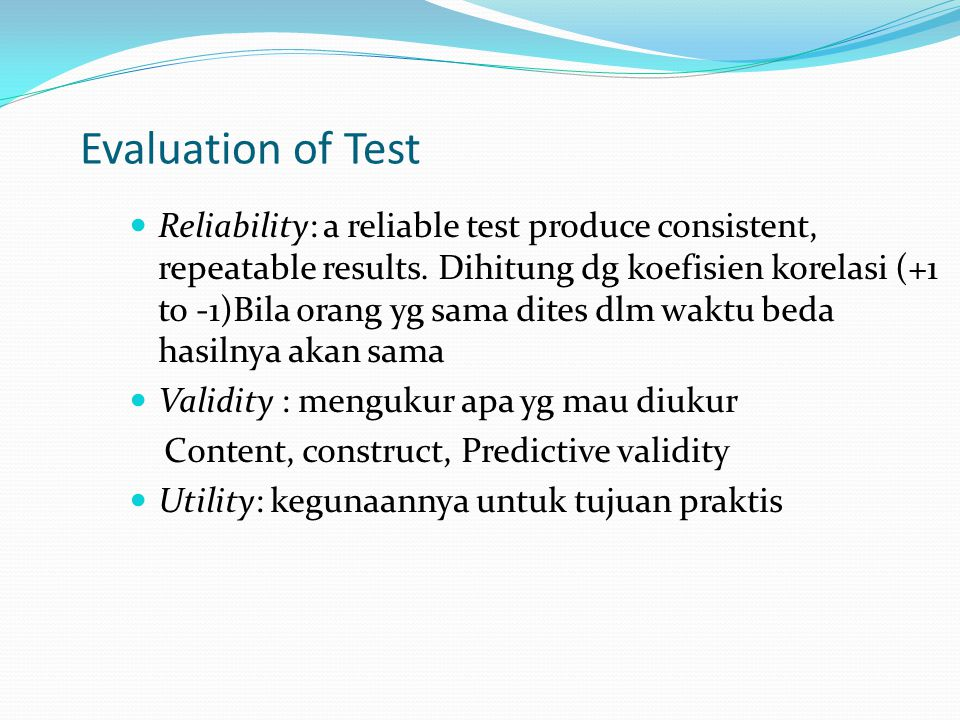 Evaluation of Test