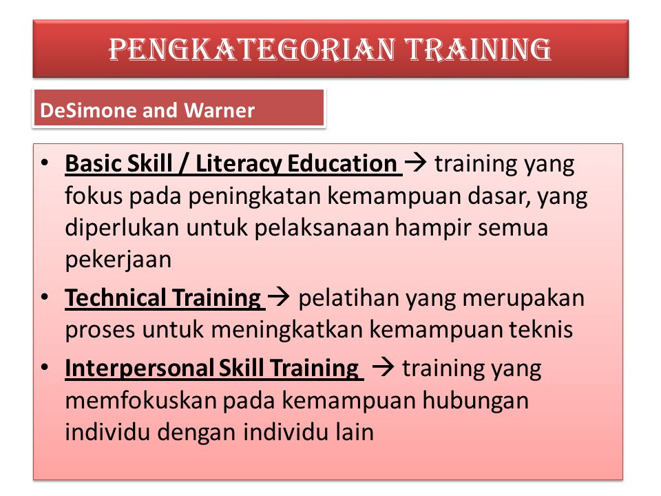 PENGKATEGORIAN TRAINING