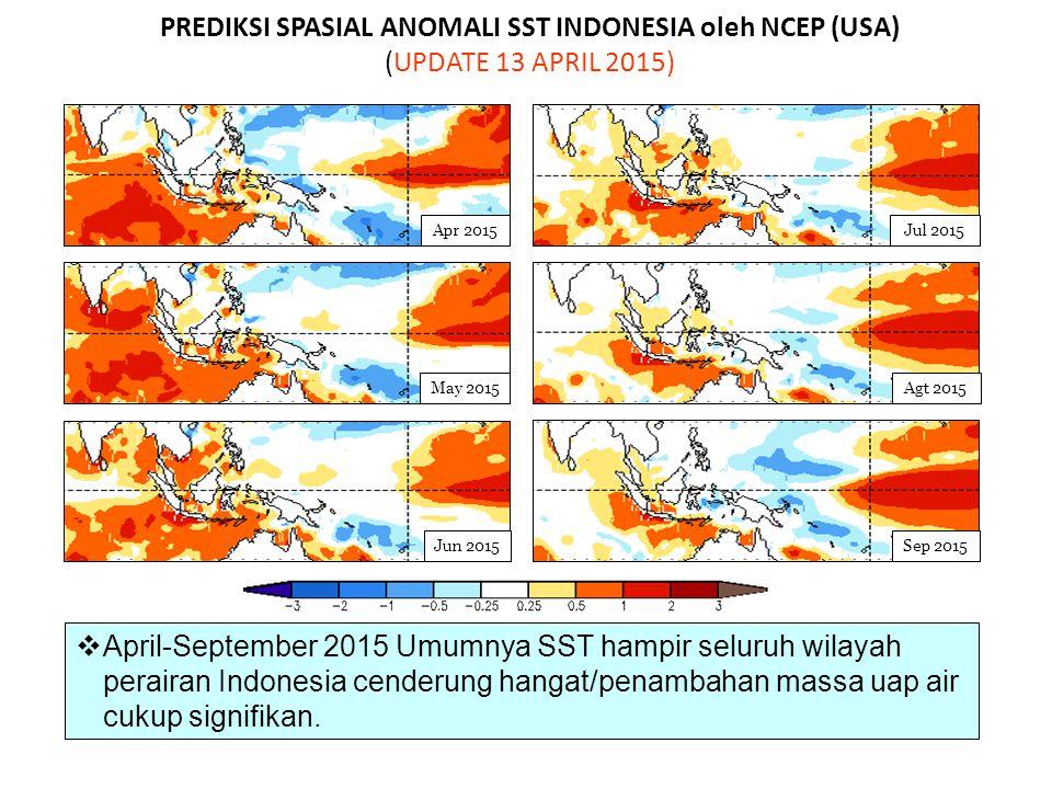 PREDIKSI SPASIAL ANOMALI SST INDONESIA oleh NCEP (USA) (UPDATE 13 APRIL 2015)